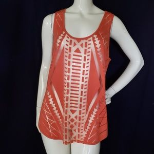 MOSSIMO sheer and solid geometric design tank